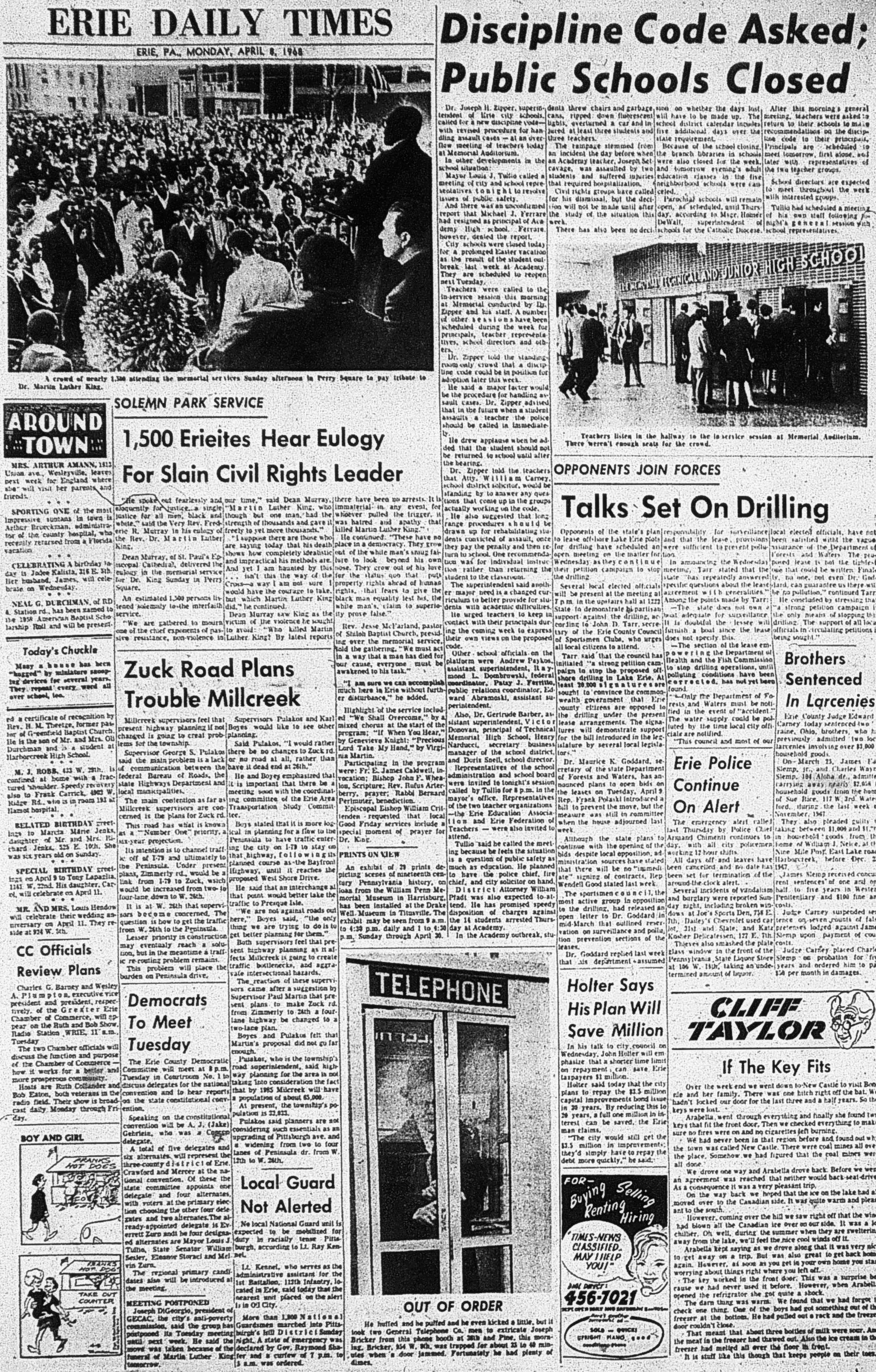 Erie Daily Times, April 8 1968, Perry Square Vigil